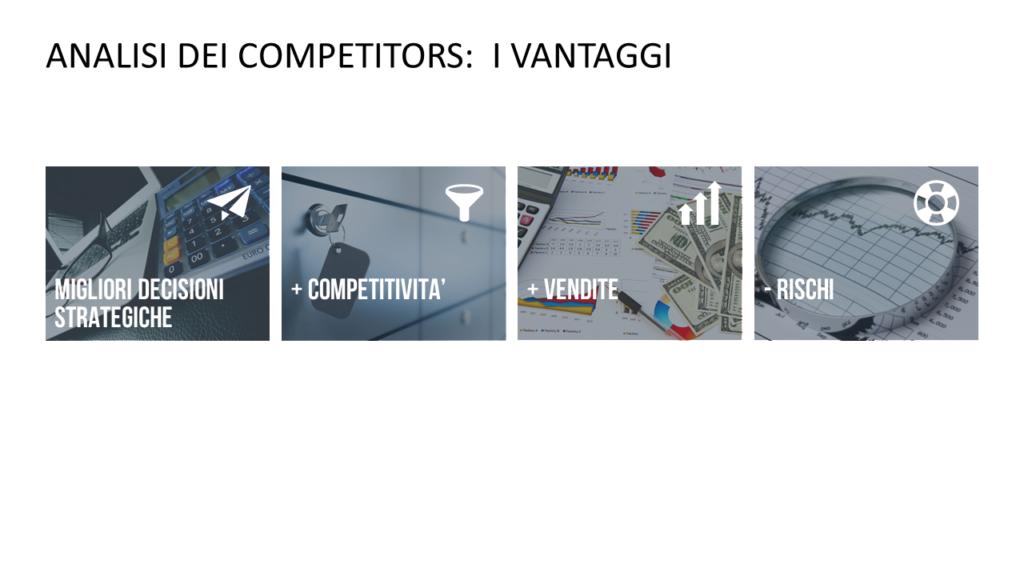 Vantaggi dell'analisi dei competitors: decisioni più efficaci, maggiore competitività, minori rischi, maggiore fatturato, migliore posizionamento aziendale