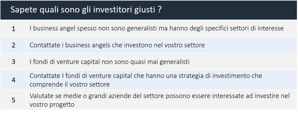 Come capire quali sono gli investitori giusti per la mia startup